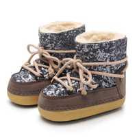 De niños de cuero genuino botas de nieve de invierno de 2019 niñas de lentejuelas zapatos de algodón chico Barco de bebé de terciopelo de algodón cálido botas