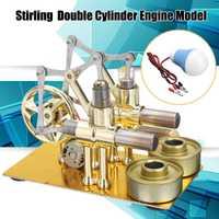 Micro motor Stirling DIY de doble cilindro, motor de combustión externa, demostración de Educación Temprana, juguetes de física para chico