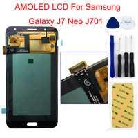AMOLED pantalla LCD para Samsung Galaxy J7 Neo J701 SM-J701F J701M J701MT/DS Monitor LCD + Touch montaje de cristal digitalizador de pantalla
