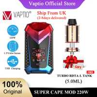 Expédition du royaume-uni! Cadeau RDTA atomiseur VAPTIO SUPER CAPE 220W MOD avec 1.3 écran cigarette électronique mod TC boîte 510 fil Vape Mod