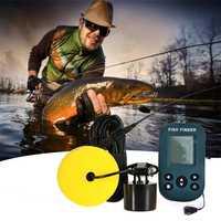 Detector de peces inalámbrico portátil eco-Sonda de pesca de profundidad Sónar Sonda de alcance de alarma transductor buscador de peces