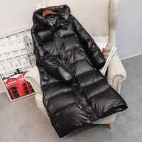Hiver Long vers le bas manteau femmes épais à capuche hiver fermeture éclair grande taille coupe-vent neige Outwear 90% blanc canard vers le bas chaud veste