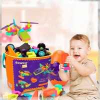 117 Uds niños creativos grandes partículas bloques ensamblados juguete educativo bloques de interconexión construcción y construcción