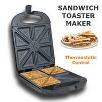 Sandwichera eléctrica de 1200W y 220 V, 4 rebanadas, parrilla de tostada doble, prensa Jaffe antiadherente, máquina para hacer waffles, máquina para hacer tortas, horno y desayuno