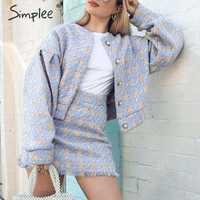 Simplee Chic streetwear plaid veste ensembles boutons automne hiver femme mini jupe costumes manches bouffantes gland dames manteau ensembles 2019
