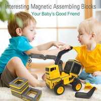 66 unids/set gran tamaño magnético ingeniería vehículo camión modelo DIY imanes bloques de construcción juguetes educativos para niños regalos