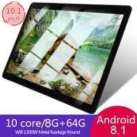 KT107 rond trou tablette 10.1 pouces HD grand écran Android 8.10 Version mode Portable tablette 8G + 64G noir tablette noir ue Plug