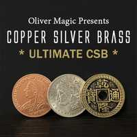 Ultime CSB 2.0 par Oliver magique cuivre argent laiton Transposition gros plan Coin tours de magie mentalisme magie rue Gimmicks