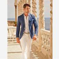 Costumes pour hommes (veste + pantalon) Designer décontracté été plage mariage bleu Blazer blanc pantalon 2 pièces rue Prom meilleur M