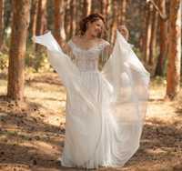 Vestido de novia sexy boho largo sin espalda Playa Blanca 2019 chifón longitud hasta el suelo Línea A rústico para mujer Vintage y Playa nupcial