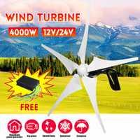 Générateur d'énergie éolienne 4000W générateur d'énergie éolienne 12 V/24 V 5 éoliennes horizontales avec lame d'éoliennes de contrôleur