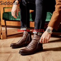 Bottines pour hommes Sapato Feminino Chaussure chaussures à talons bas homme homme automne chaussures décontractées hommes Vintage en cuir PU chaussons D57