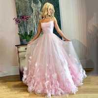 Elegante Rosa dulce 16 vestido de tul para baile de fin de curso tiras de espagueti 3D flores encaje tul vestido de noche mujeres vestidos de fiesta formales