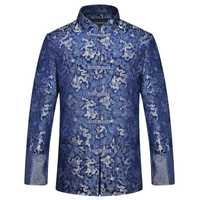 Ropa tradicional china Tang Suit chaqueta de boda 2019 chaqueta de seda roja hombres otoño dragón Cheongsam Tops talla grande 4xl