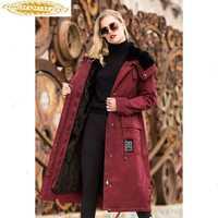 AYUNUSE Real Fur Parka 2020 chaqueta de invierno de lujo para mujer abrigo de piel de visón natural femenino coreano largo gabardina abrigos calientes prendas de vestir MY3621