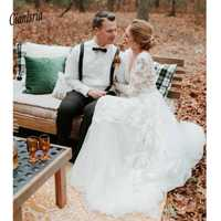 Exquisito profundo cuello en V rústico vestido de novia de manga larga con apliques sin espalda vestido de novia línea a largo tren vestido de novia blanco