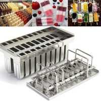 20 piezas de acero inoxidable moldes de paletas de helado palo titular plata hogar DIY moldes de helado Pop molde helado paleta