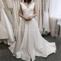 Vestido De novia ruso elegante cuello en V pliegues satén, blanco, marfil vestido De novia bata De Mariee falda drapeada Sweep Train vestido Casual