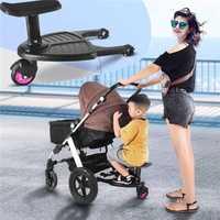 Chariot bébé poussette jumelle pédale auxiliaire enfants plaque debout adaptateur avec siège deuxième enfant remorque auxiliaire jumeaux Scooter