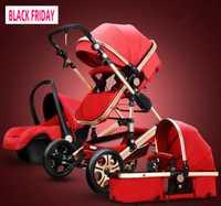 Poussette bébé 3 en 1 chariot haute paysage landau poussette pliable et siège auto