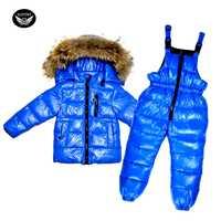 Garçons canard vers le bas costume-30 degrés russe enfants chaud neige ensemble fille hiver Snowsuit veste à capuche + épaississement combinaison bébé longs manteaux