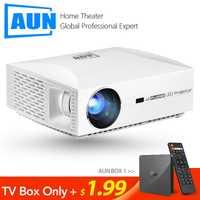 AUN projecteur Full HD F30UP, 1920x1080 P. Android 6.0 (2G + 16G) WIFI, mini projecteur LED pour Home Cinema, vidéo 3D Beamer pour 4 K.