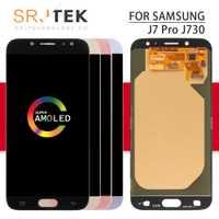 Srjtek AMOLED para SAMSUNG Galaxy J7 Pro pantalla J730 pantalla táctil digitalizador Sensor con marco J730 vidrio J7 Pro 2017 j730F LCD