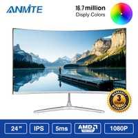 Anmite 23.8 pouces FHD Hdmi HDR incurvé TFT LCD moniteur jeu compétition écran d'affichage d'ordinateur Led HDMI/VGA