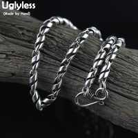 Collares de cadenas de plata reales para hombres geniales de Uglyless cadenas de rama de diseño creativo Collar de plata de ley 925 auténtica sin colgante C162