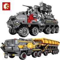 SEMBO City, carro de tierra ambulante, tanque militar, furgoneta de carga, camión de transporte, modelo de la técnica de bloques de construcción, juguetes para niños
