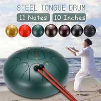 10 pouces 11 Notes D langue en acier majeur tambour Handpan main Tankdrum avec pilons avec doigt lits Yoga méditation Zazen Relax