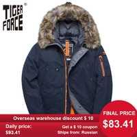 TIGER FORCE veste d'hiver hommes rembourré Parka russie homme manteau d'hiver fourrure artificielle grandes poches moyenne-longue épaisse Parkas veste de neige