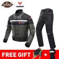DUHAN coupe-vent Moto course costume équipement de protection armure Moto veste + Moto pantalon Hip protecteur Moto vêtements ensemble