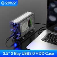 ORICO 3.5 pouces 2 baie boîtier de disque dur boîtier de disque externe Transparent SATA à USB3.0 type-b boîtier de disque dur avec adaptateur secteur 12V3A