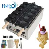 Comercial eléctrico de 5 piezas de boca abierta taiyaki fabricante de cono de hielo taiyaki máquina de cono de waffle cono Placa de hierro horno