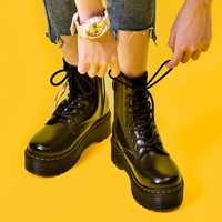 Plate-forme Martens bottes femmes chaussures 2020 nouveau noir cuir bottines femmes Punk chaussures fond épais moto bottes Dr Mujer