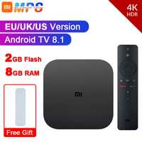 Original Global Xiao mi mi TV Box S 4K HDR Android TV 8.1 Ultra HD 2G 8G WIFI Google Cast Netflix IPTV décodeur lecteur multimédia