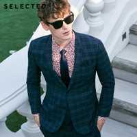 Select hommes foncé Plaid fermeture col Blazer coupe ajustée affaires veste vêtements T | 41915X503