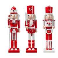 3 uds. 38CM Navidad madera Cascanueces soldado joyería juguete títere para niños regalo habitación decoración figuras miniatura Vintage C