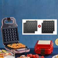 Máquina para hacer bocadillos, máquina eléctrica para hacer gofres para el desayuno, máquina multifunción antiadherente para pan, panqueques takoyaki 220V 600W
