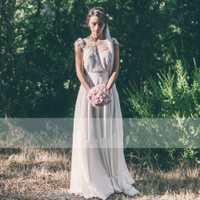Vestido de boda primicia estilo rústico de encaje de manga corta de gasa una línea de espalda abierta vestidos de novia robe de mariee