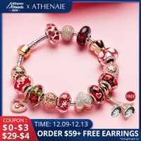 ATHENAIE 925 pulsera de plata de oro rosa colgante de la Torre Eiffel y corazón pulseras de abalorios con encanto y brazaletes para mujer regalo de la joyería