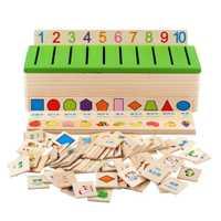 Matemática forma de clasificación de madera de juguete caja cognitiva de los niños educativos aprender Juguetes