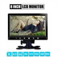 8 pulgadas TFT LCD Color Monitor de vídeo CCTV Monitor pantalla HDMI VGA BNC AV entrada para ordenador CCTV seguridad y pantalla giratoria de pie