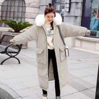 Famosa marca de alta calidad de tela de piel de melocotón sección larga de algodón de mujer sobre la rodilla engrosamiento holgado invierno abajo chaqueta de las mujeres
