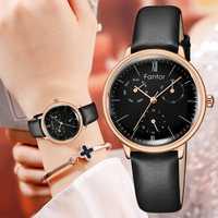 Reloj de pulsera de cuarzo para mujer de marca superior de lujo con cronógrafo Elegeant relojes de correa de cuero para mujer reloj femenino