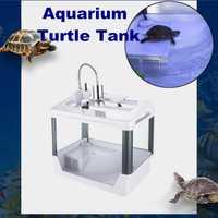 Reptil, tortuga caja de cría del tanque de peces de acuario con el calentamiento luz disfrutando rampa acuario de tortugas suministros del tanque del acuario