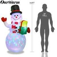 Our warm 152CM muñeco de nieve decoración inflable de Navidad figura de luz nocturna de Santa Claus jardín al aire libre patio decoración de fiesta de navidad