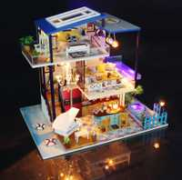 Miniaturas hechas a mano de madera Diy casa de muñecas en miniatura muebles de casa de muñecas Kits de modelos de artesanías caja de juguetes de rompecabezas para regalo de niños