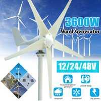 3600W 12/24/48V AC générateur éolien Permanent 5-lames générateur d'énergie domestique w/contrôleur pour réverbère solaire